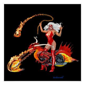 Glühendes Drache-Radfahrer-Baby Poster