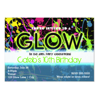 Glühenneonfarben-Spritzer-Geburtstags-Party Karte