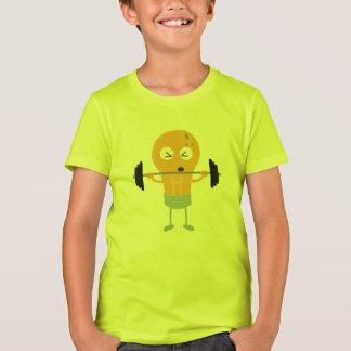 Glühlampe der Fitness mit Gewicht T-Shirt