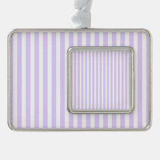 Glyzinie-lila Lavendel-Orchidee u. weißer Streifen Rahmen-Ornament Silber