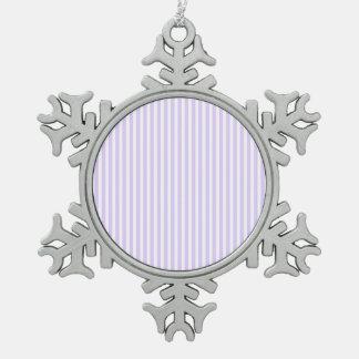 Glyzinie-lila Lavendel-Orchidee u. weißer Streifen Schneeflocken Zinn-Ornament