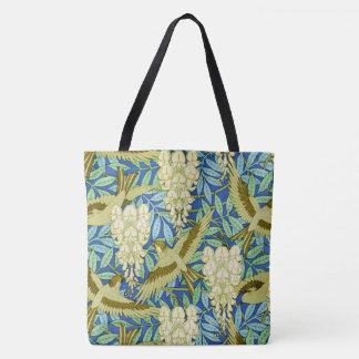 Glyzinie-und Vogel-Kunst Nouveau mit Blumen Tasche