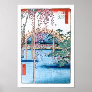 Glyzinien an Kameido Schrein Hiroshige schöner Poster