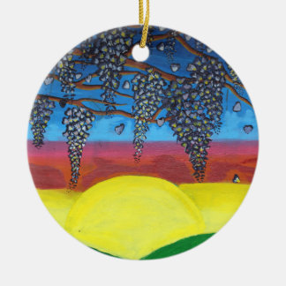 Glyzinien auf der Wand Keramik Ornament
