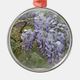 Glyzinien im Holz Silbernes Ornament