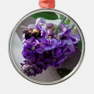 Glyzinien u. Biene Silbernes Ornament