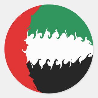 Gnarly Flagge Arabische Emirates Runder Aufkleber