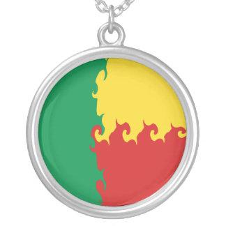Gnarly Flagge Benins Halskette Mit Rundem Anhänger