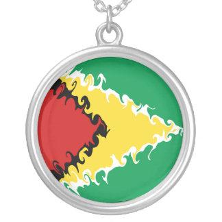 Gnarly Flagge Guyanas Halskette Mit Rundem Anhänger