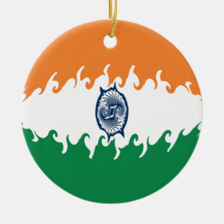 Gnarly Flagge Indiens Rundes Keramik Ornament