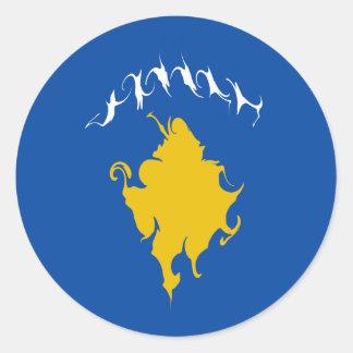 Gnarly Flagge Kosovos Runde Aufkleber