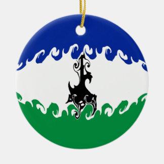 Gnarly Flagge Lesothos Rundes Keramik Ornament