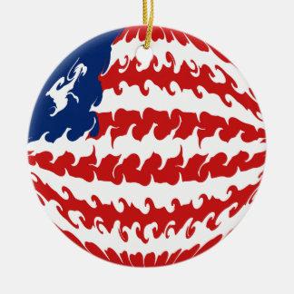 Gnarly Flagge Liberias Rundes Keramik Ornament