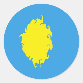 Gnarly Flagge Palaus Runder Aufkleber