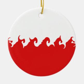 Gnarly Flagge Polens Rundes Keramik Ornament