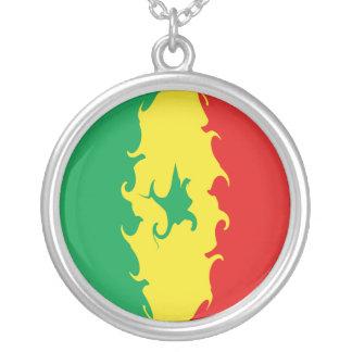 Gnarly Flagge Senegals Halskette Mit Rundem Anhänger