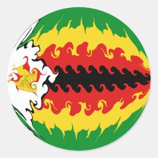 Gnarly Flagge Simbabwes Runder Aufkleber