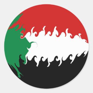Gnarly Flagge Sudans Runde Aufkleber