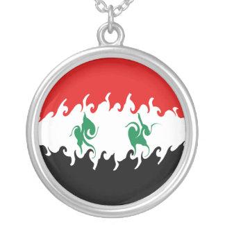 Gnarly Flagge Syriens Halskette Mit Rundem Anhänger