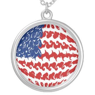 Gnarly Flagge Vereinigter Staaten Halskette Mit Rundem Anhänger
