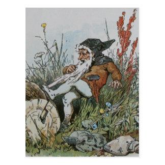 Gnome mit seinem Bart gefangen auf einem Klotz Postkarte