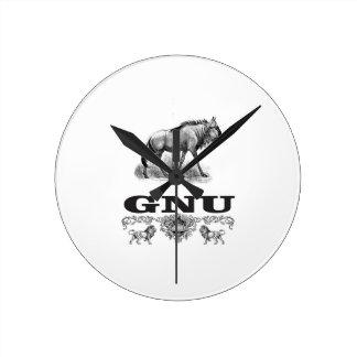 Gnu-Power Runde Wanduhr