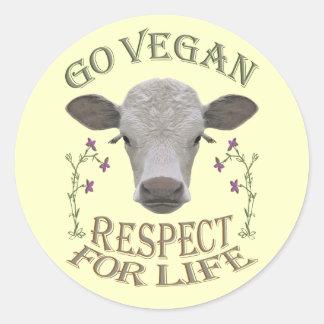GO VEGAN - RESPECT FOR LIFE - */* RUNDER AUFKLEBER