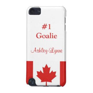Goalie #1/personalisierte Name-Ahorn Blatt-Flagge iPod Touch 5G Hülle