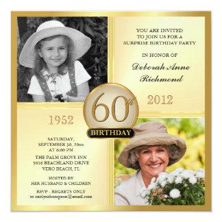 Gold60. Geburtstags-Einladungen dann u. jetzt 2 Quadratische 13,3 Cm Einladungskarte