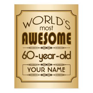 Gold60. Geburtstags-Feier-Welt gut fabelhaft Postkarte