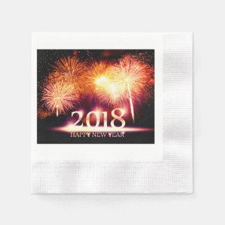 Gold 2018 guten Rutsch ins Neue Jahr-Feuerwerke Papierserviette