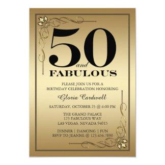 Gold 50 und fabelhafte Geburtstags-Party Einladung