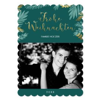 Gold and Green Leaves Frohe Weihnachten Photo 12,7 X 17,8 Cm Einladungskarte