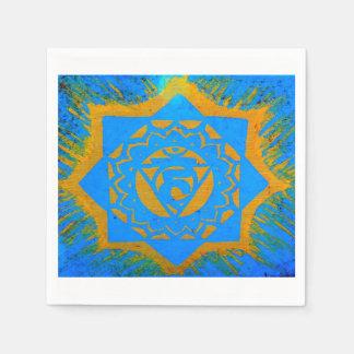 Gold auf blauem tantric Symbol Serviette