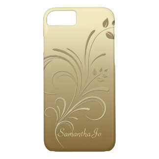 Gold auf GoldblumenWirbels-Monogramm iPhone 7 Fall iPhone 8/7 Hülle