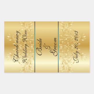 Gold auf Goldhochzeits-Wein-Aufkleber Rechteckiger Aufkleber