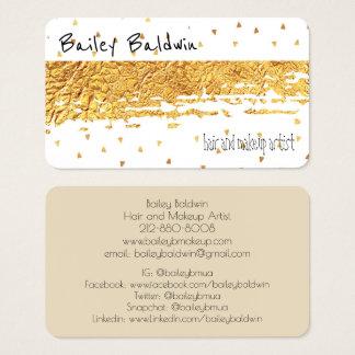 Gold beunruhigte Folie mit Confetti Visitenkarte