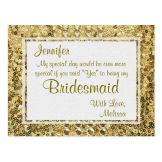 Gold Bling | sind Sie meine Brautjungfer? Postkarten