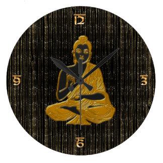 Gold Buddha Große Wanduhr