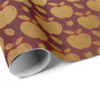Gold Burgunder kastanienbraunes metallisches Apple Geschenkpapier