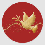 Gold Christmas dove of peace christian event stick Stickers