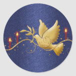 Gold Christmas dove peace candles Stickers