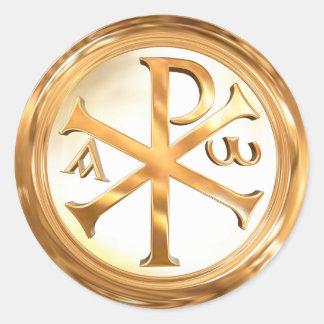 Gold Christogram Runder Aufkleber