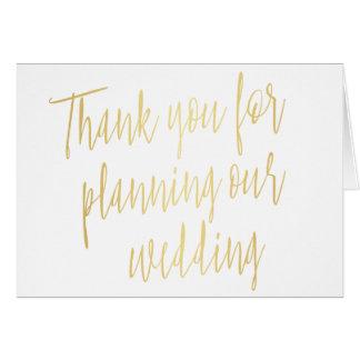 """Gold """"danken Ihnen für die Planung unserer Grußkarte"""