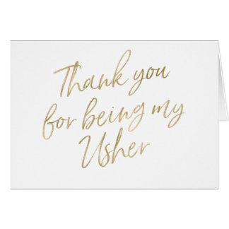 """Gold """"danken Ihnen für mein Sein mein Usher """" Karte"""