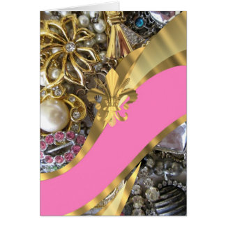 Gold, das Fleur de Lys bling ist Mitteilungskarte
