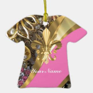 Gold, das Fleur de Lys bling ist Keramik T-Shirt-Ornament