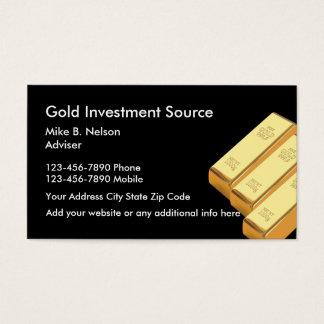 Gold, das Waren investiert Visitenkarte