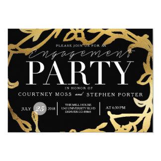 Gold des Chic-Verlobungs-Party-| mit Blumen 12,7 X 17,8 Cm Einladungskarte