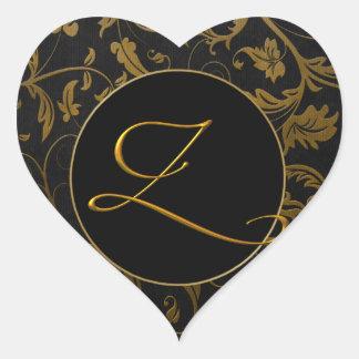 Gold des Monogramm-Z und schwarzes Herz-Aufkleber
